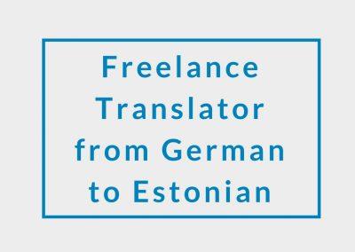 Freelance Translator (from German to Estonian)