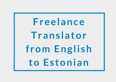 Freelance Translator (from English to Estonian)