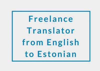 Freelance Translator (from English to Estonian)