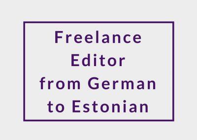 Freelance Editor (from German to Estonian)