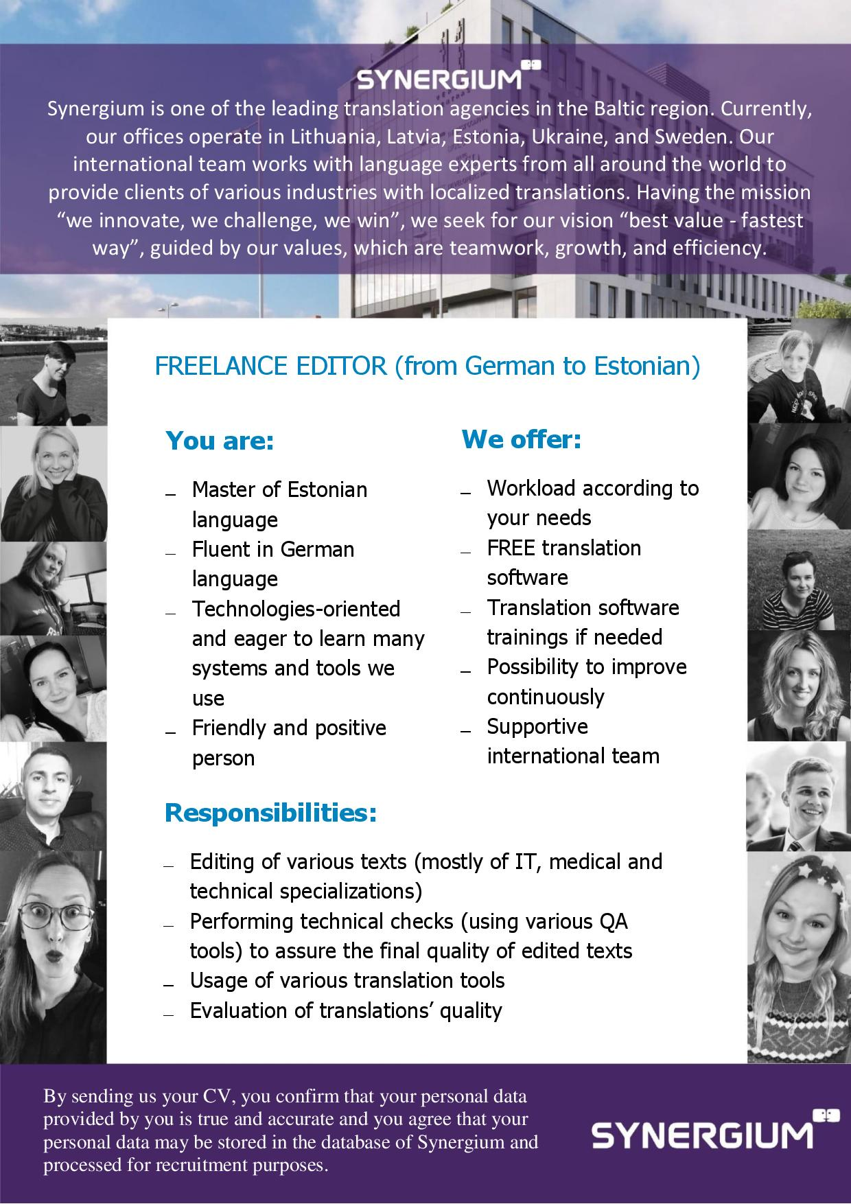 freelance editor from german to estonian job advertisement synergium
