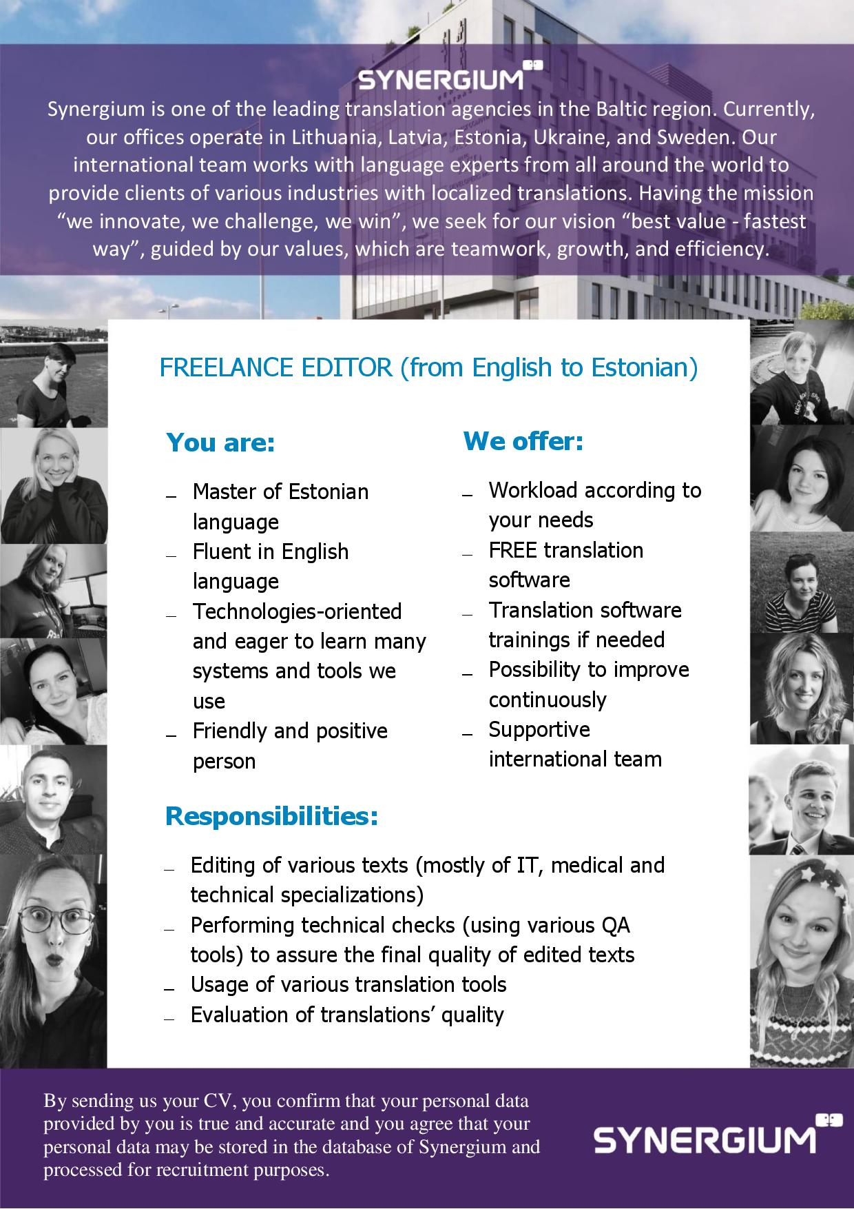 freelance editor from english to estonian job advertisement synergium