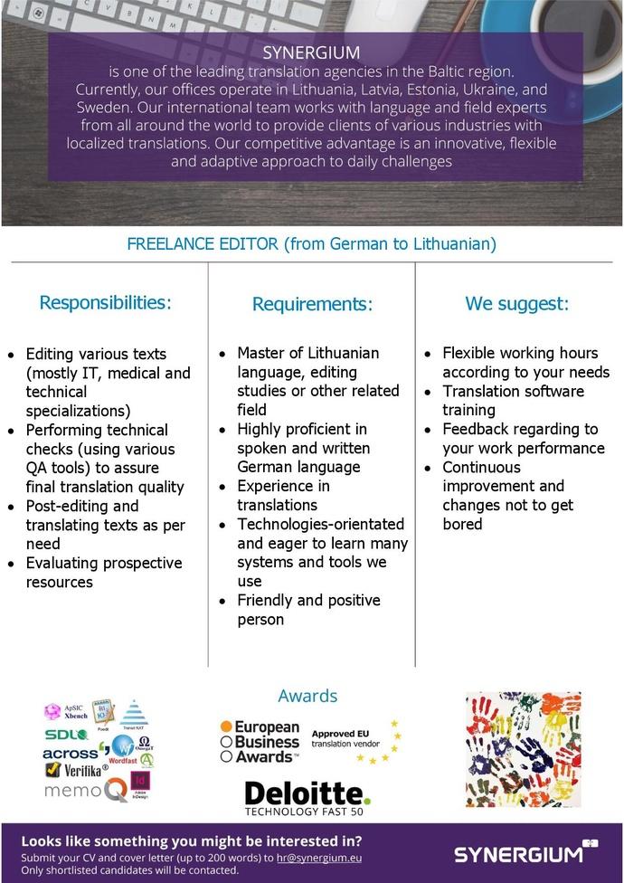 Synergium Freelance editor (EN -> LT)