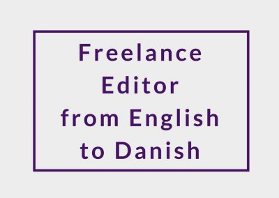 Freelance Editor from English to Danish