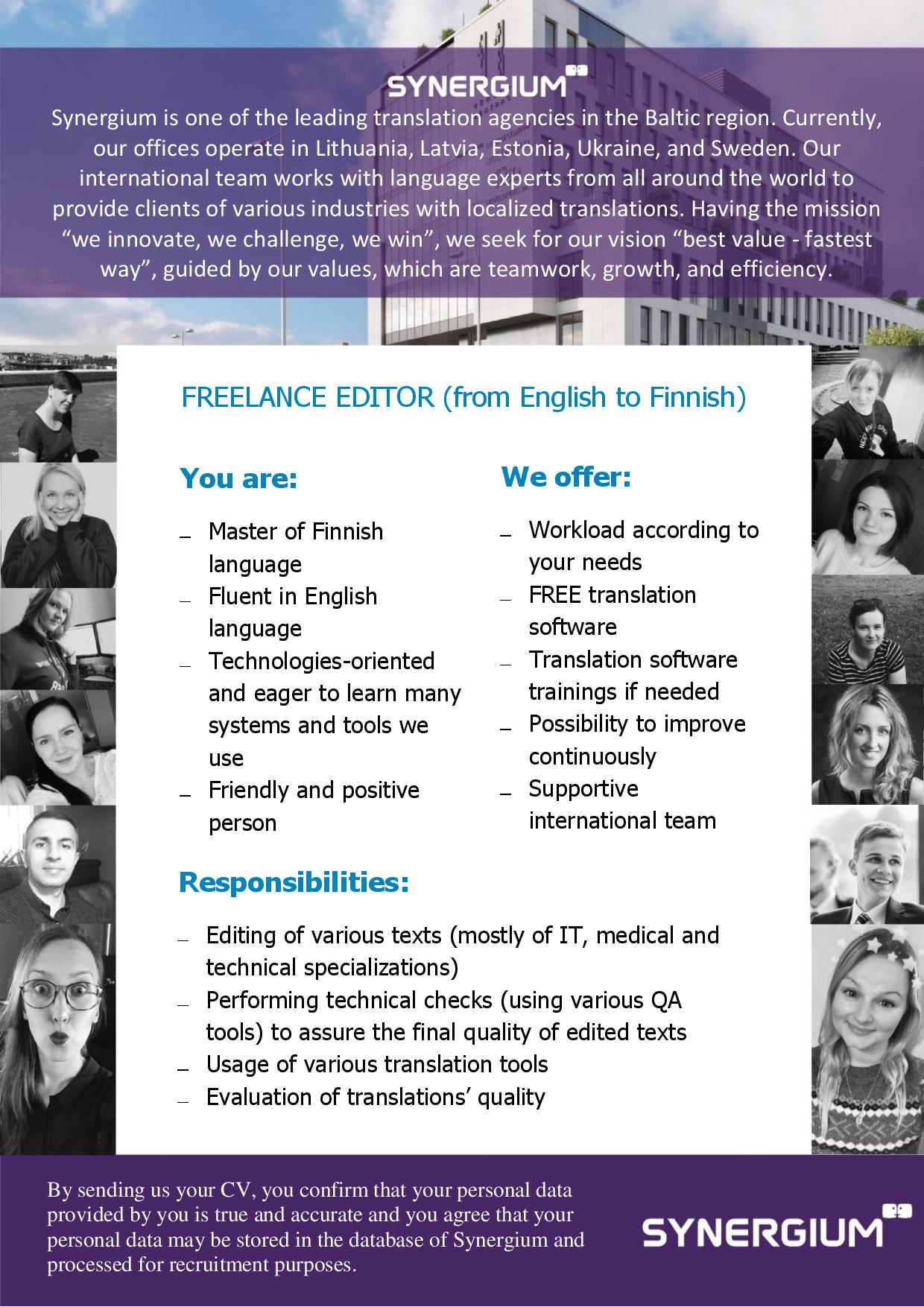 freelance editor from english to finnish job advertisement synergium
