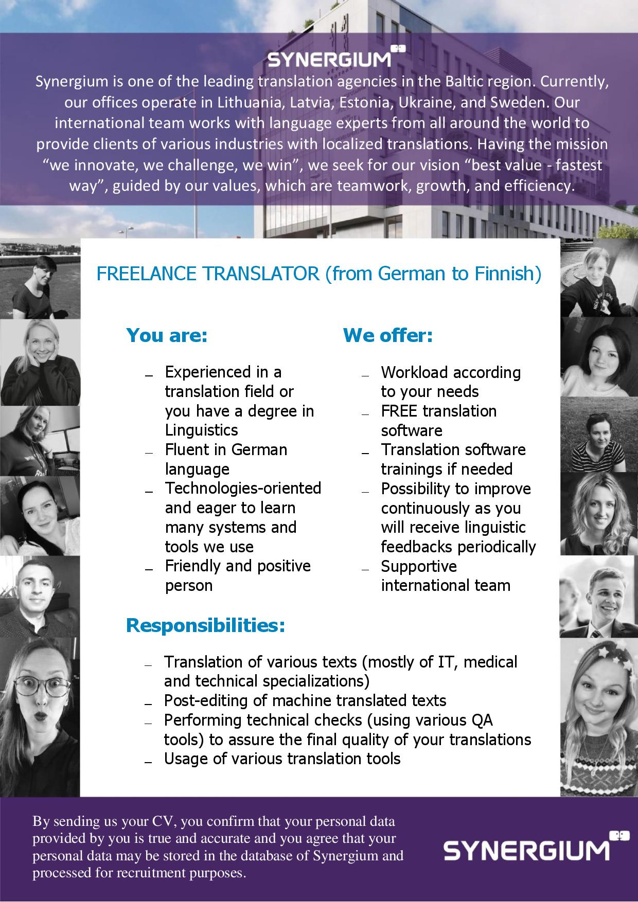 freelance translator from german to finnish job advertisement synergium
