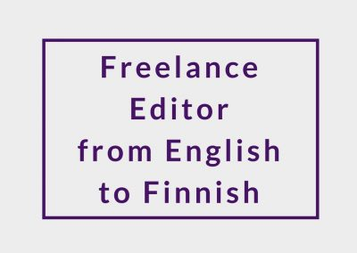 Freelance Editor from English to Finnish