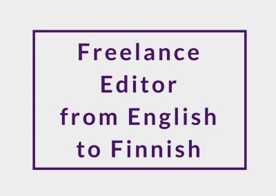Freelance Editor from English to Finnish