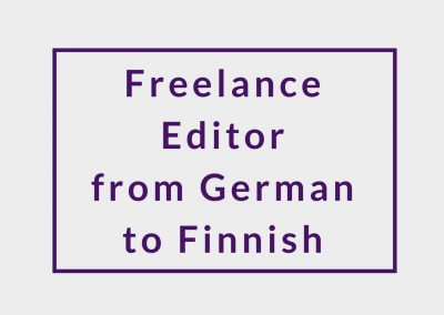 Freelance Editor from German to Finnish
