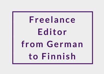 Freelance Editor from German to Finnish