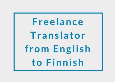 Freelance Translator from English to Finnish