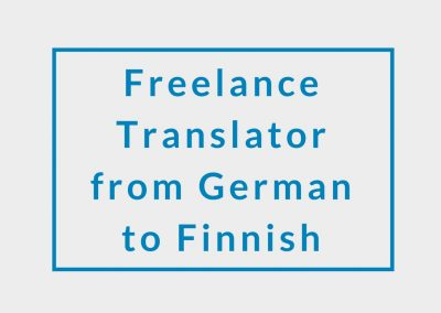 Freelance Translator from German to Finnish