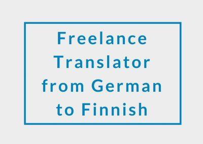 Freelance Translator from German to Finnish