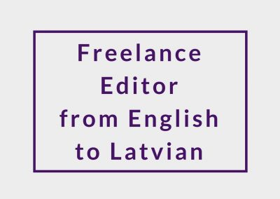 Freelance Editor (from English to Latvian)