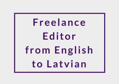 Freelance Editor (from English to Latvian)