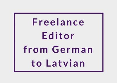 Freelance Editor (from German to Latvian)