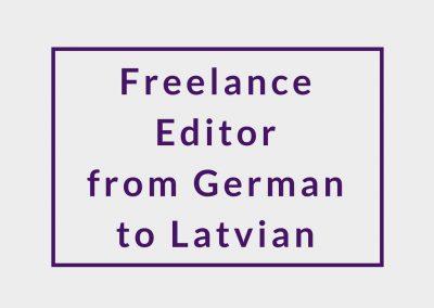 Freelance Editor (from German to Latvian)