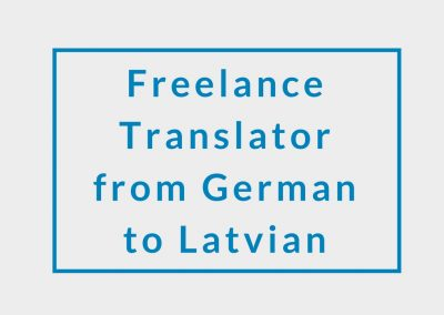 Freelance Translator (from German to Latvian)