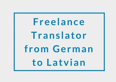 Freelance Translator (from German to Latvian)