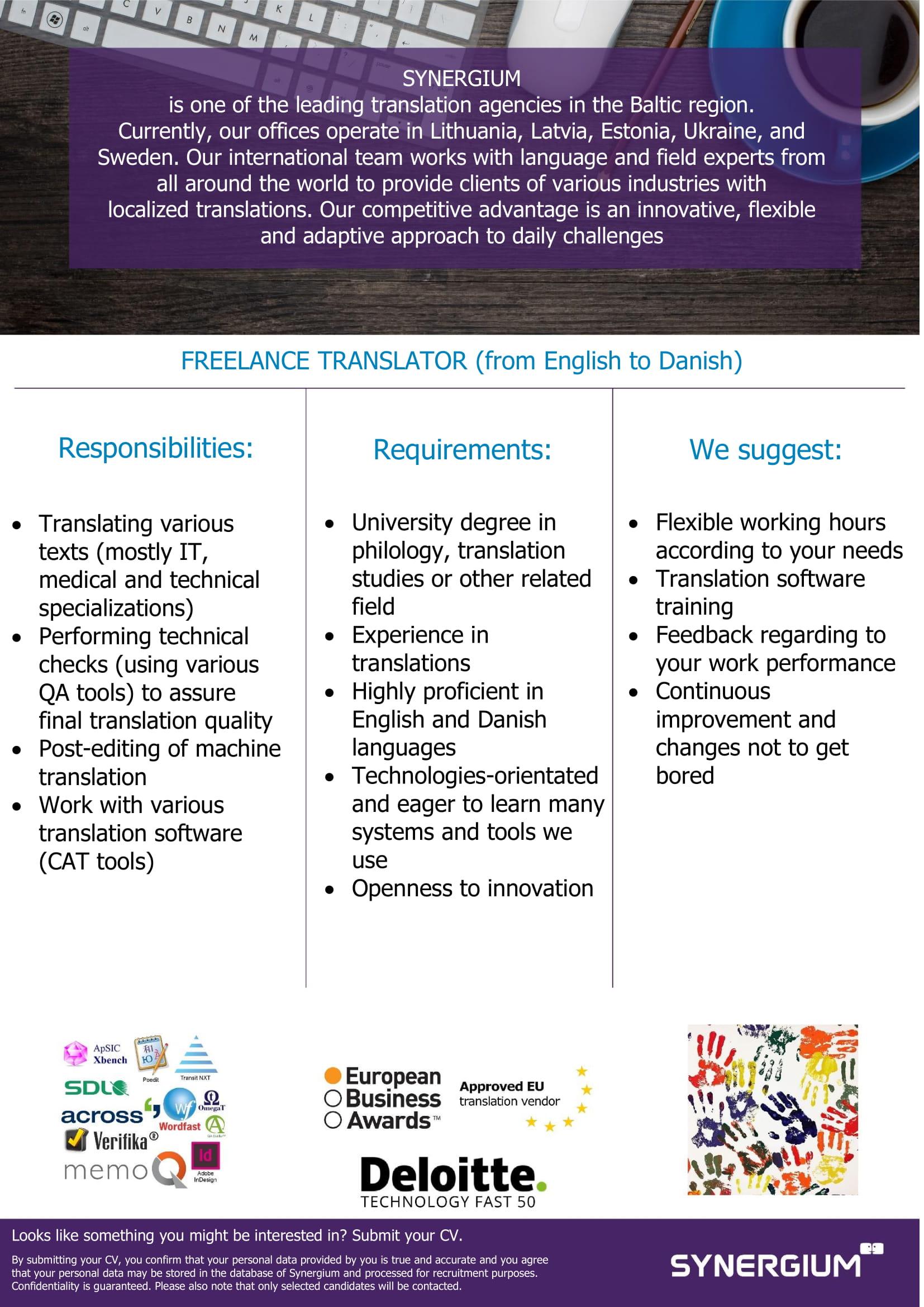 Synergium freelance translator from english to danish job advertisement