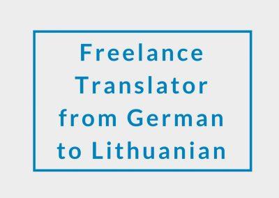 Freelance Translator (from German to Lithuanian)