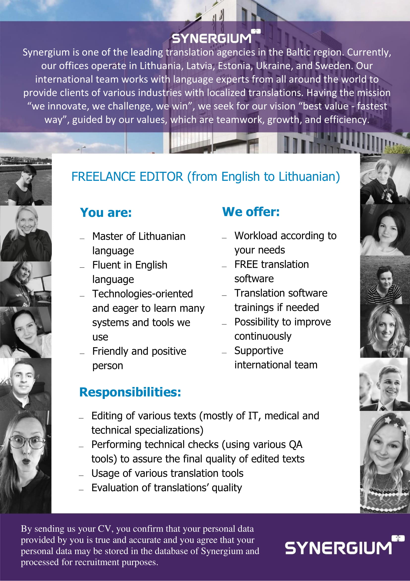 freelance editor from english to lithuanian job advertisement synergium