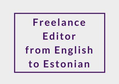 Freelance Editor (from English to Estonian)