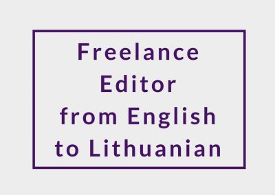 Freelance Editor from English to Lithuanian