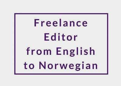 Freelance Editor from English to Norwegian