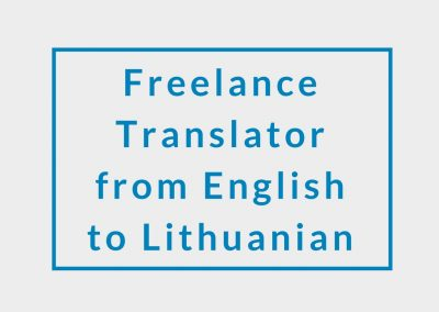 Freelance Translator from English to Lithuanian