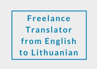 Freelance Translator from English to Lithuanian