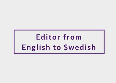 Freelance Editor from English to Swedish