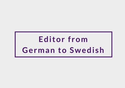Freelance Editor from German to Swedish