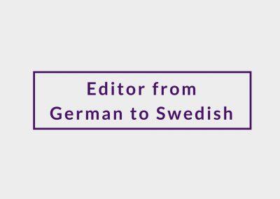Freelance Editor from German to Swedish