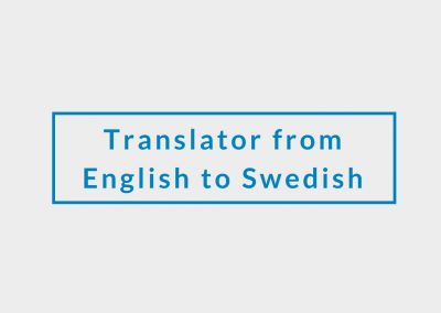 Freelance Translator from English to Swedish