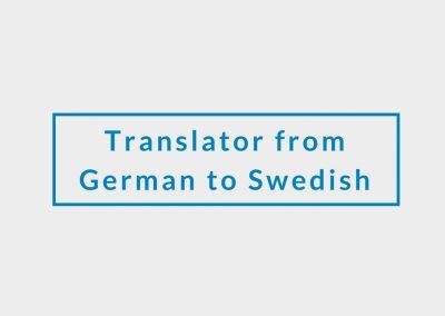 Freelance Translator from German to Swedish