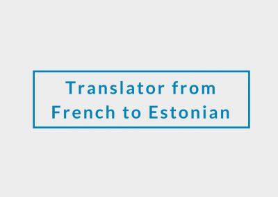 Freelance Translator from French to Estonian